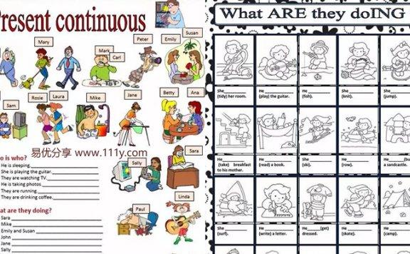 《12份现在进行时(一)语法专项作业纸》英文练习册PDF 百度网盘下载