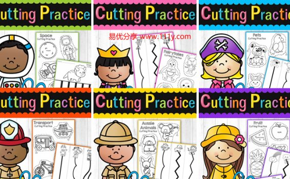 《Cutting Practice Bundle – 180 Themed Pages》幼儿剪纸6册 百度网盘下载