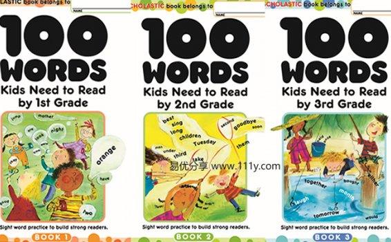 《100 words kids need to read》G1-G3三册全彩PDF 百度网盘下载