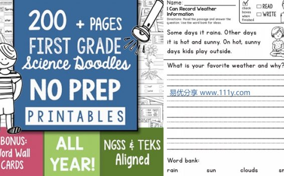 《TPT Science Doodles First Grade》35个主题幼儿科学启蒙PDF 百度网盘下载