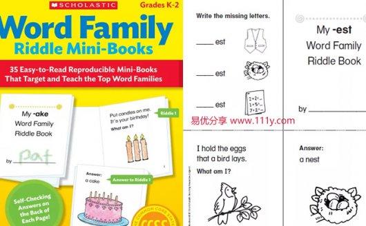 《word family riddle minibooks》英文词汇猜谜语练习 百度网盘下载