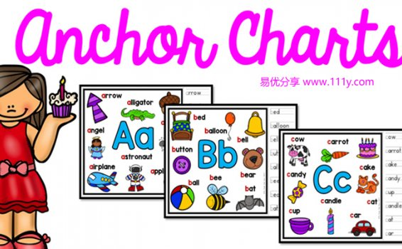 《Alphabet Anchor Chart英文字母海报》彩色单词描红黑白趣味涂色 百度网盘下载