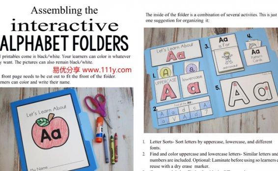 《Alphabet Folders》英文字母涂色描红手工书练习册 百度网盘下载