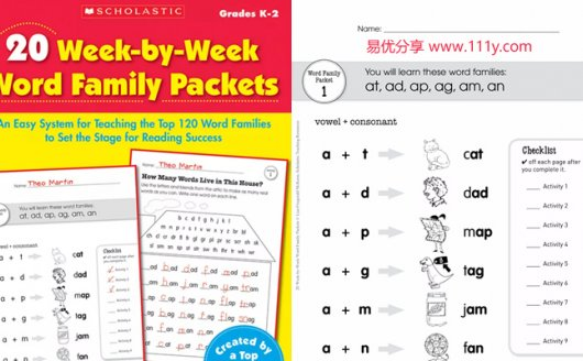 《20 Week by Week Word Family Packet GK-2》学乐练习册 百度网盘下载