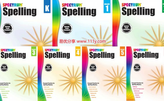 《Spectrum Spelling Workbook》GK-G6全套拼写英文练习册PDF 百度网盘下载