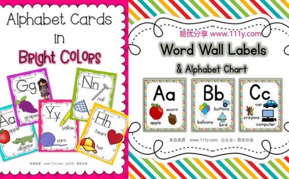《2套精美英语闪卡环创墙贴》孩子字母单词启蒙必备教材 百度网盘下载