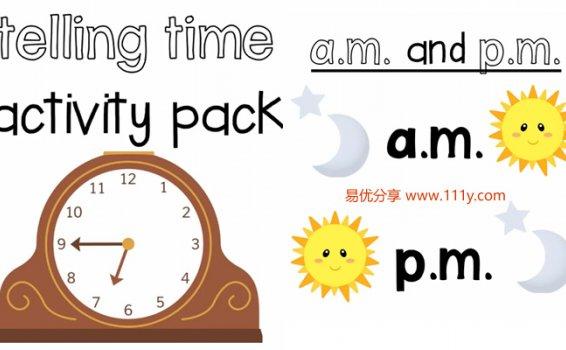 《telling time activity pack》帮助孩子高效认知时间PDF 百度云网盘下载