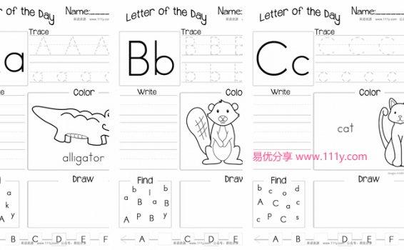 《Letter of the Day》26个基础字母书写练习纸PDF 百度网盘下载