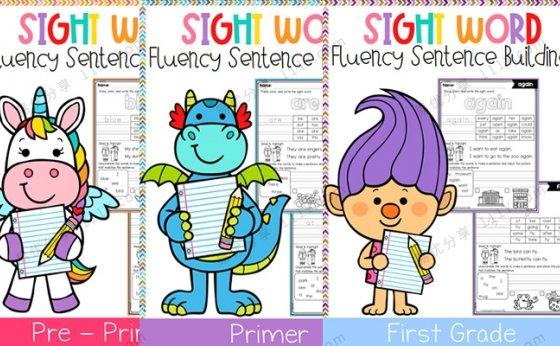 《Sight Word Fluency Sentence Scramble》高频词句子组合练习三册 百度网盘下载