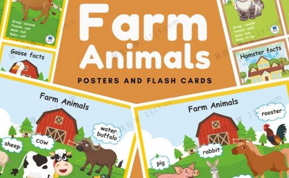 《Farm animals农场动物》精美主题英文闪卡PDF 百度网盘下载