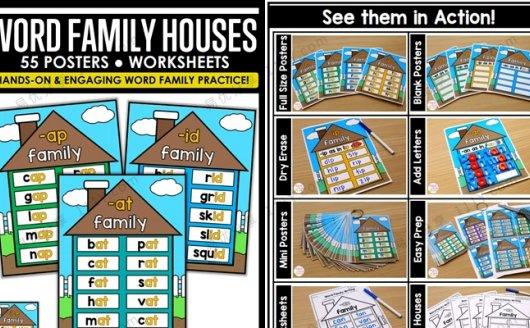 《Word Family Houses》55张单词墙环创素材词族海报PDF 百度网盘下载