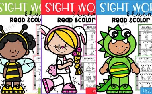 《Sight Word Fluency Read and Color》高频词阅读着色练习三册 百度网盘下载