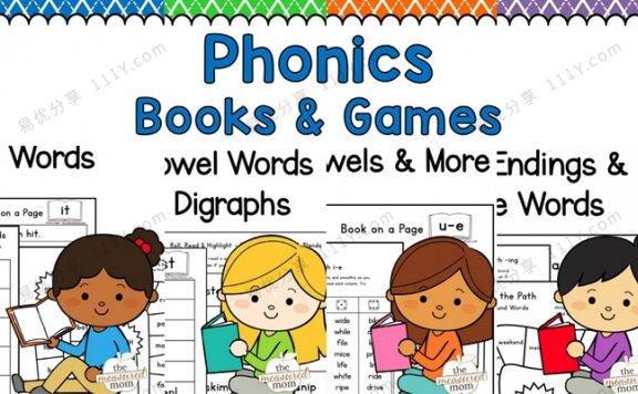 《Phonics Books & Games》自然拼读互动书全四册PDF 百度网盘下载