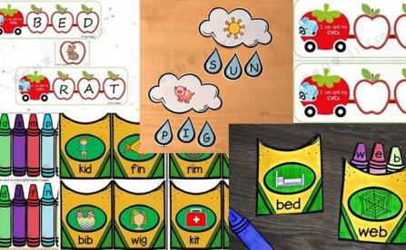 《三套CVC自然拼读教具》云朵雨滴蜡笔筒苹果小火车PDF 百度网盘下载