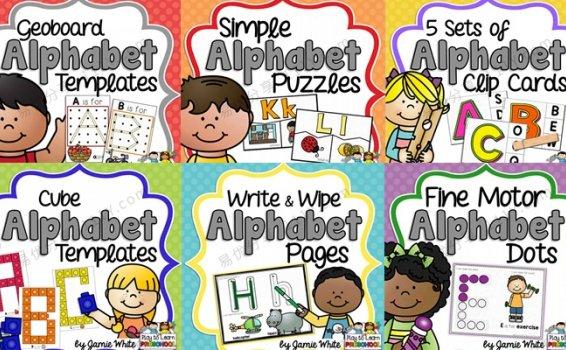 《Alphabet Centers》六册幼儿英文字母认知练习素材包 百度网盘下载