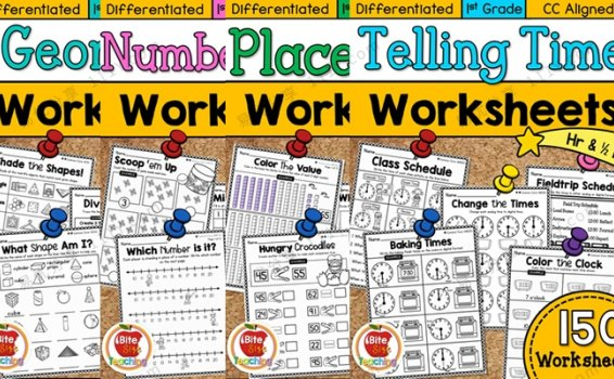 《First Grade Math WORKSHE》形状数字时间作业纸四册 百度网盘下载