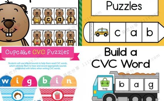 《四套CVC自然拼读英文教具》土拨鼠卡车冰淇淋铅笔PDF 百度网盘下载