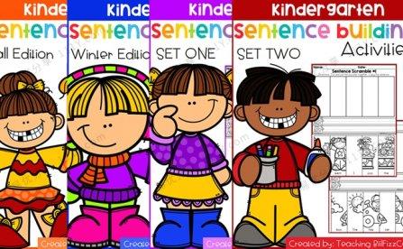 《Kindergarten Sentence Building》84页英文单词排序作业纸PDF 百度网盘下载