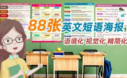 《88张英文短语环创资源》英语动词词组海报素材 百度网盘下载