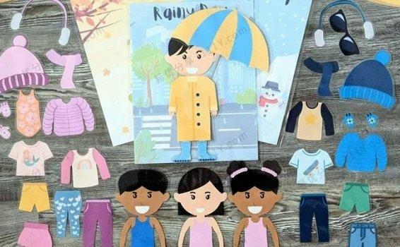 《四季天气男孩女孩换装英文教具》英语启蒙互动教学素材包PDF 百度网盘下载