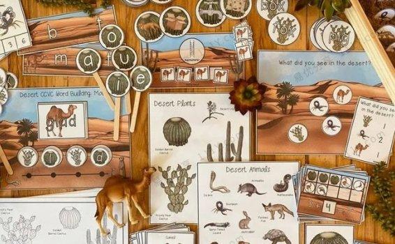 《沙漠主题游戏英文教具》322页数学字母科学启蒙素材包PDF 百度网盘下载