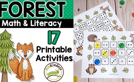 《Forest Theme Printable Math》森林动物主题英文教具素材包PDF 百度网盘下载